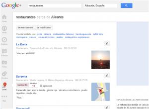 Resultados de negocios con cuenta en Google Plus for Pages