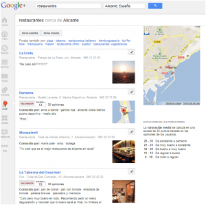 """Resultados para """"restaurantes alicante"""" en Google Plus Local"""