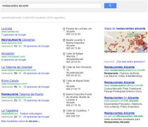 Página principal de resultados naturales en Google.es