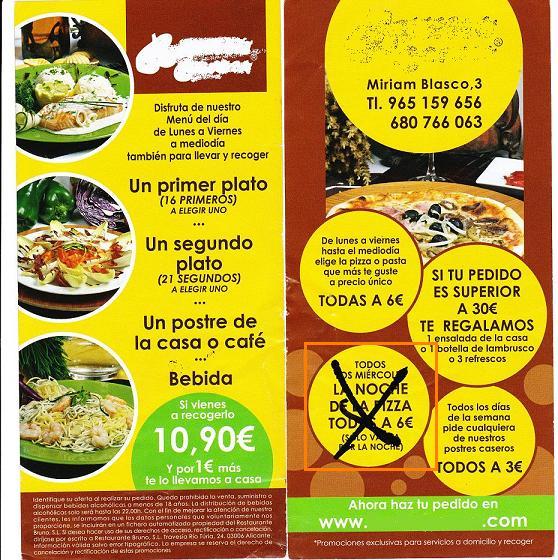 publicidad de display de un restaurante