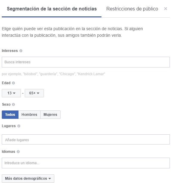 segmentación noticias facebook