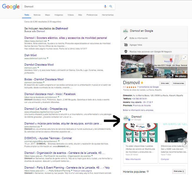 cómo sale la ficha de Google Maps en Google