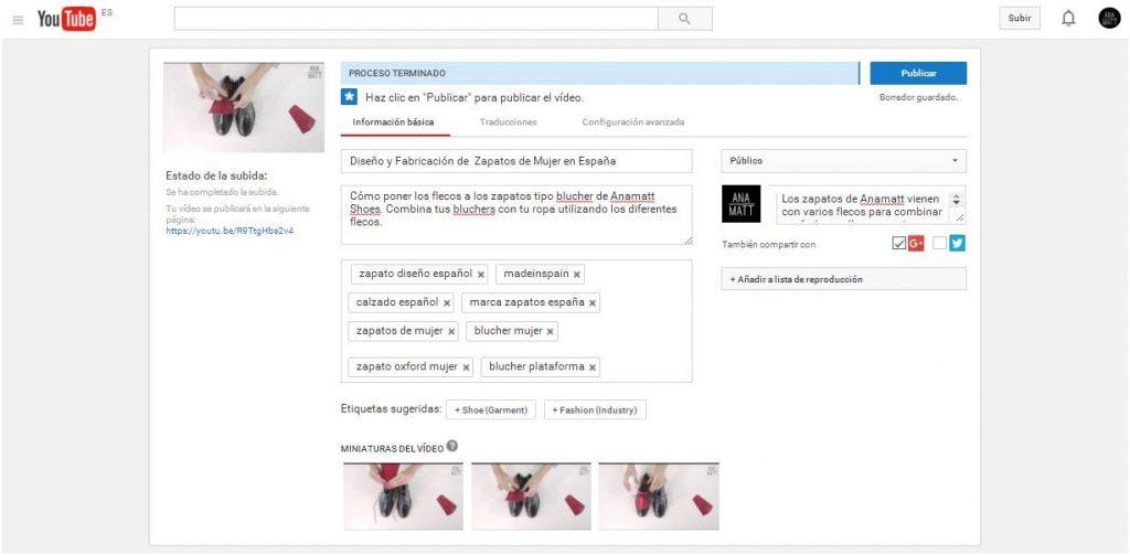 subir un vídeo optimizado a youtube